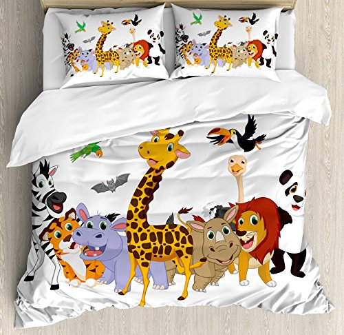 (Ambesonne Kids Duvet Cover Set Queen Size, Colorful Jungle Animals Hippo Bat Parrot Giraffe Zebra Rhino Panda African Safari Themed Decorations, Decorative 3 Piece Bedding Set with 2 Pillow Shams)
