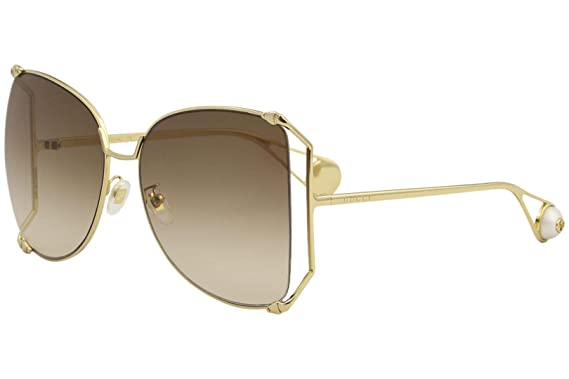 b4884a48b49 Image Unavailable. Image not available for. Color  Gucci GG0252S Sunglasses  003 Gold   Brown Gradient Lens 63 mm