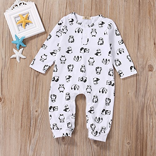 Zoe's wardrobe Baby Girl Boy Cotton White Panda Print Romper Coverall Long Pant Bodysuit