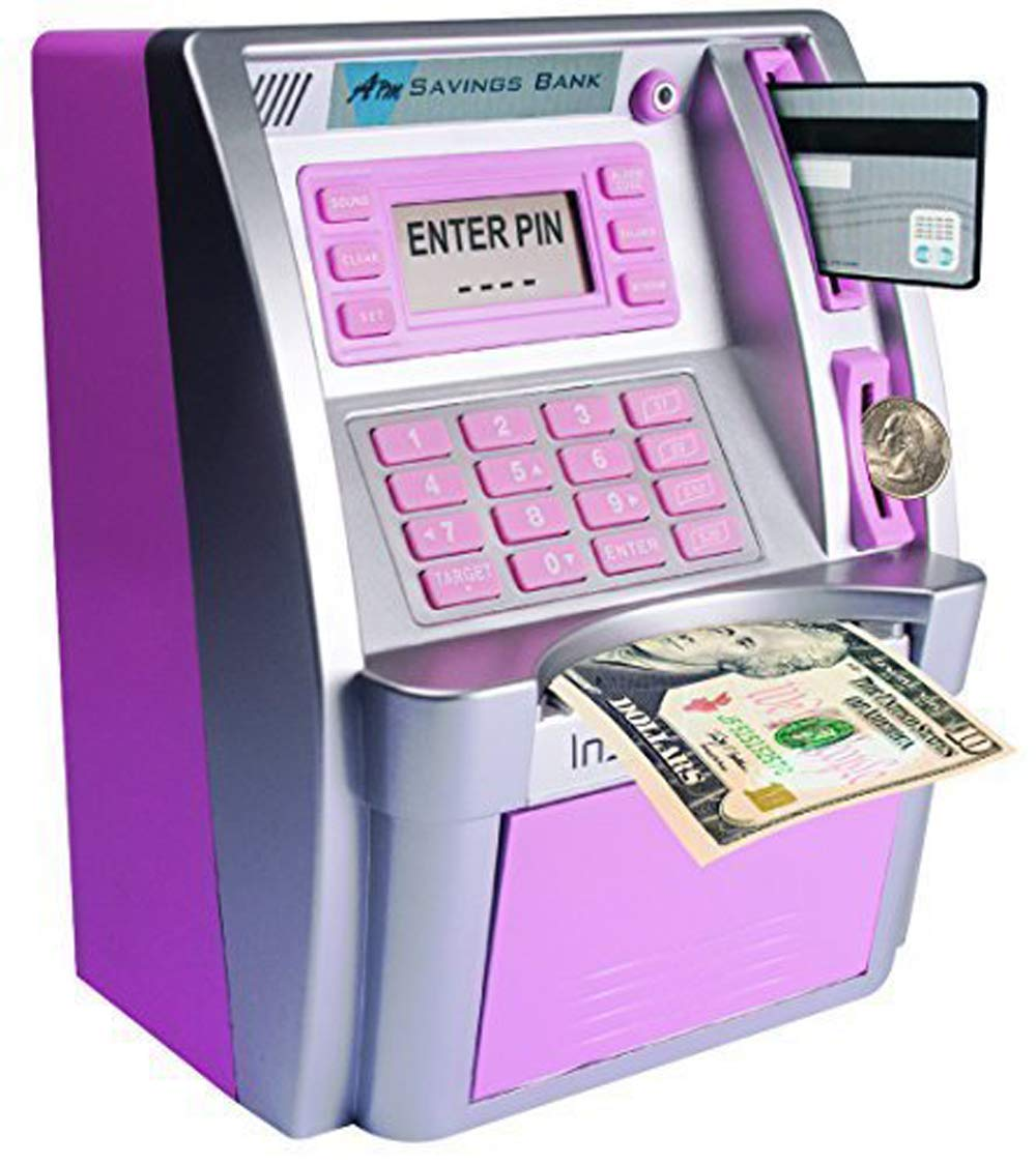 GoodsFederation Electronic ATM Savings Bank Digital Piggy Money Bank Machine,Electronic Cash Box with Debit Card,Password Login,Voice Prompt,Coin Recognition,Targets Setting (Sliver/Pink)