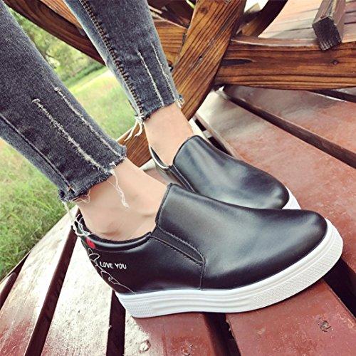 Amiley Hot Sale Mujer Slip On Mocasines Con Cordones Mocasines De Ante Anchos Low Wedge Zapatos Negro