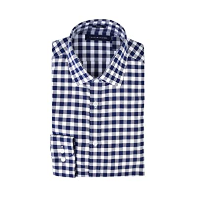 Tommy Hilfiger Men's Dress Shirts Non Iron Slim Fit Solid Spread Collar at Men's Clothing store