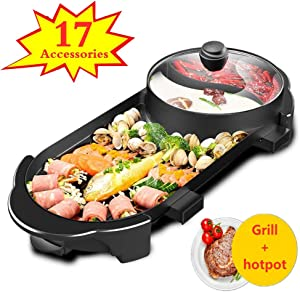 NEW! 17 Set Electric Grill Indoor Hot Pot 3-in1 Multifunctional 110V, Shabu Shabu Pot with Divider - Indoor Teppanyaki Grill - Separate Dual Temperature Contral, Capacity for 6 People Family Gatherings