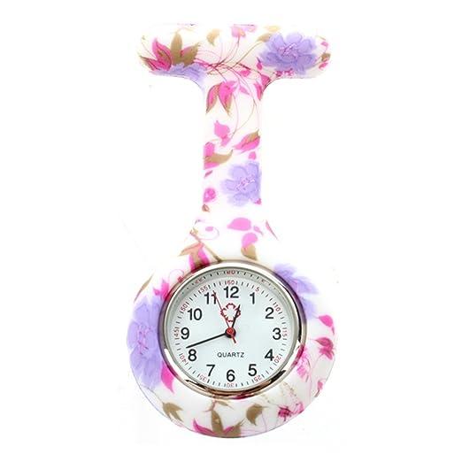 SODIAL Reloj Bolsillo de Broche en Silicona para Enfermeros y Paramedicos Vid de la Flor en Colores Pastel: Amazon.es: Relojes
