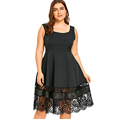 ff2127ffcaefad RoseGal Women s Black Sleeveless Lace Panel Plus Size Fit and Flare  Dress