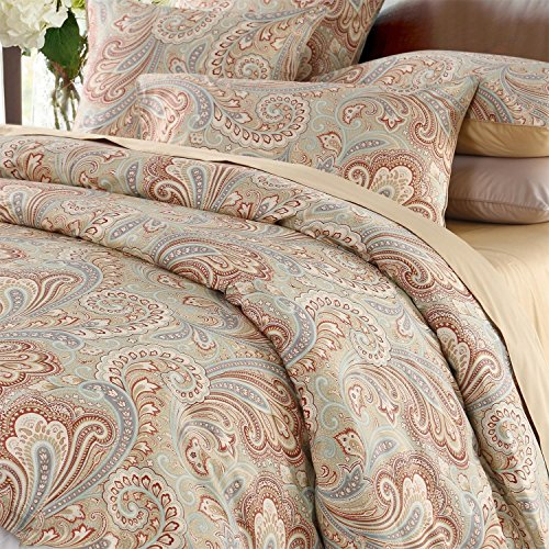 (Brandream Luxury & Elegant Home Collection 800-Thread-Count Bedding Sets 3-piece Gold Paisley Print Duvet Cover Set 100% Cosy & Durable Egyptian Cotton,Twin Size )
