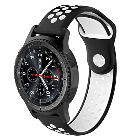 Malloom Impermeable Ligero ventilar Silicona Pulsera Correa de muñeca para Samsung Gear S3 Frontier Smartwatch (B)