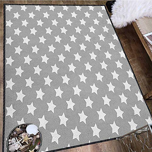 - Star Contemporary Synthetic Rug,Big Stars Pattern Monochrome Artful Modern Baby Nursery Design Starry Night Themed Textured Geometric Design Grey White 63