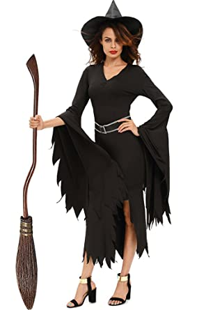 Fortunings JDS Todo el traje negro de Halloween de la bruja ...