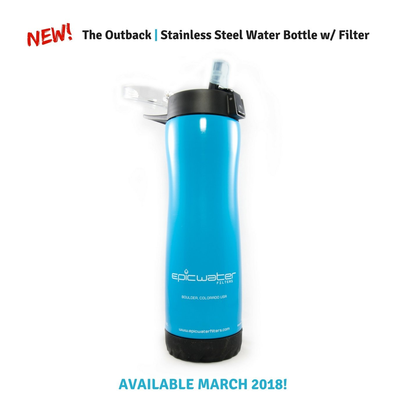 Epic Stainless Steel Water Filtration Bottle with 1 Everyday Filter | Removes Lead, Arsenic, Fluoride TTHM, PFOA/PFOS and 65+ More Tap Water Contaminants | 800mL | Pacific Blue Epic Life Inc.