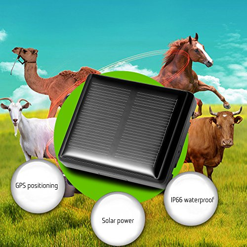 Solar Panel Powered GPS Tracker Real-time Tracking Locator Device Activity Monitor For Farm Animals/Pets (Powered Farm)