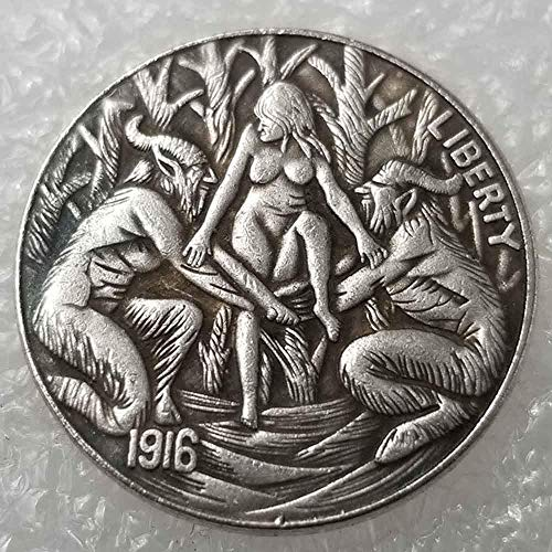 NiuChong Best Morgan US Coins - 1916 Five Cents Hobo Nickel Coin -Old Coin Collecting-US Dollar USA Old Morgan Dollar -Plated US Old Coin Love it