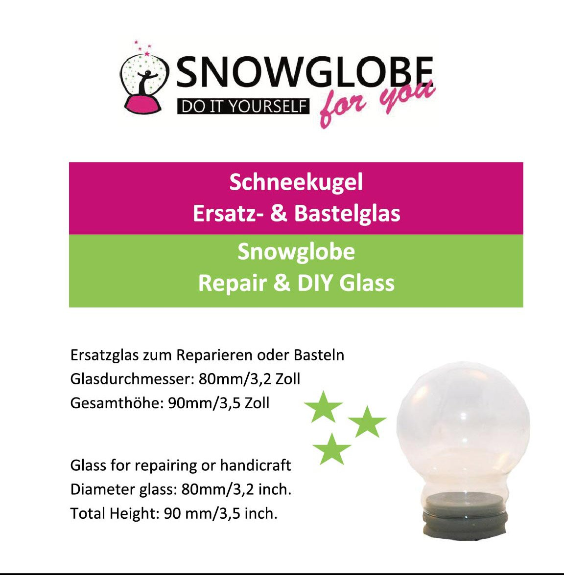 40003 Snowglobe for You - Do It Yourself (DIY) Replacement Glass Dia 80mm Schneekugelhaus