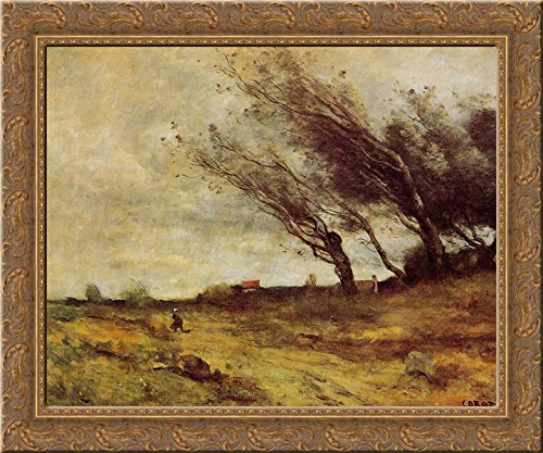 (Windswept Landscape 24x20 Gold Ornate Wood Framed Canvas Art by Camille Corot)