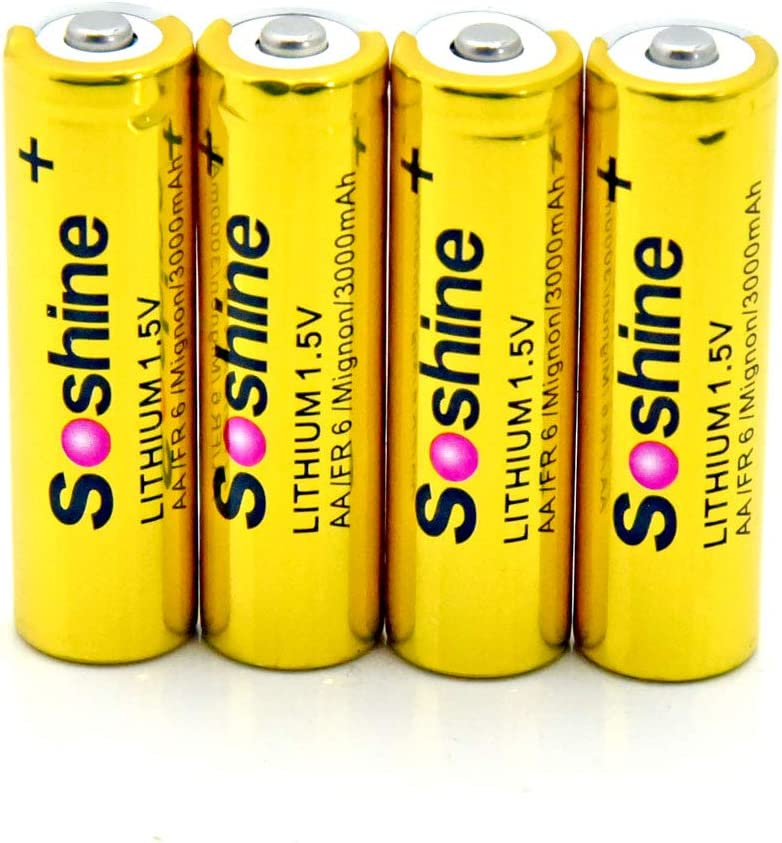 Soshine AA Batteries 1.5Volt Lithium with Battery Box
