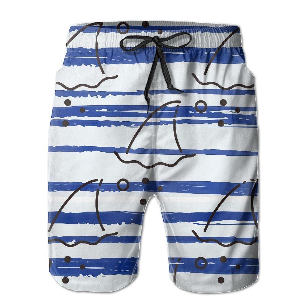 YOIGNG Boardshorts Fishing Shark Mens Quick Dry Swim Trunks Beach Shorts