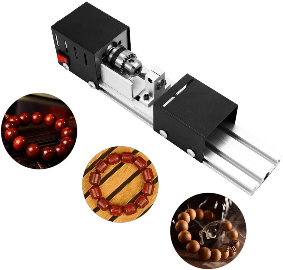HNIWDJ 100W Beads Machine Miniature Lathe Buddha Pearl Grinding Polishing Beads Wood Working DIY Lathe Drill Rotary Tool