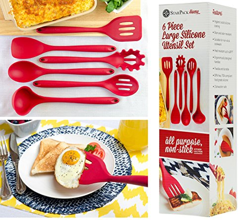 StarPack Home Silicone Kitchen Utensil Set with 101 Cooking Tips, X-Large, 13.5-Inch (6 Piece Set) - Cherry Red