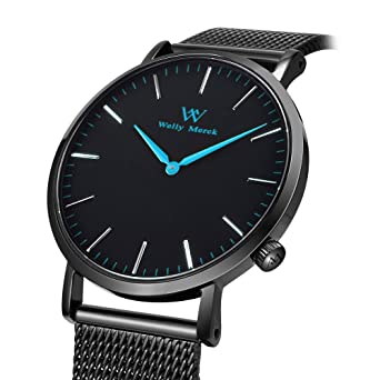 acda3ded081d Welly Merck Reloj Analógico para Mujer Cuarzo Suizo Pulsera con Acero Negro  W-C10M2  Amazon.es  Relojes