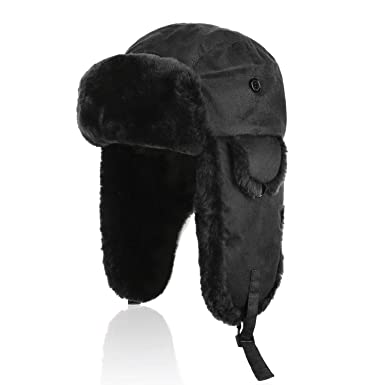 03fd01ddaaa Image Unavailable. Image not available for. Color  IKEPOD Shearling  Sheepskin Aviator Russian Ushanka Winter Hunting Trapper Hat