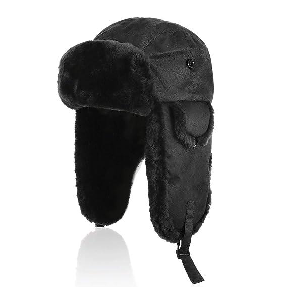 c0130dc3d0d126 IKEPOD Shearling Sheepskin Aviator Russian Ushanka Winter Hunting Trapper Hat  Black