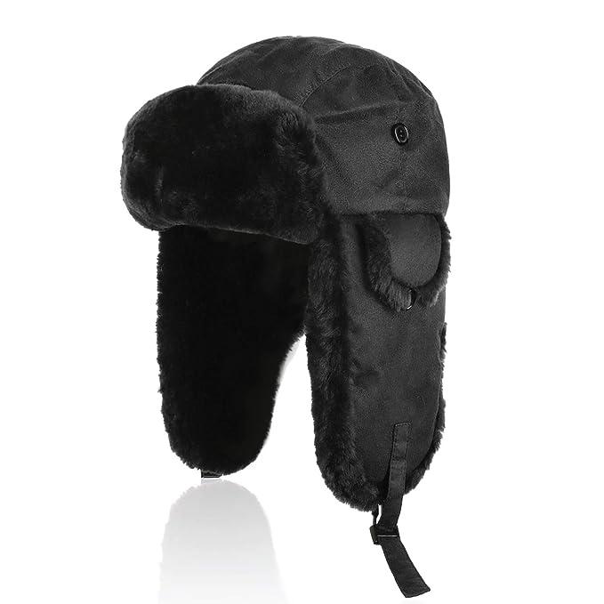 IKEPOD Pelle di Pecora Shearling Cappello da Cacciatore Trapper ... 4b54441529f3