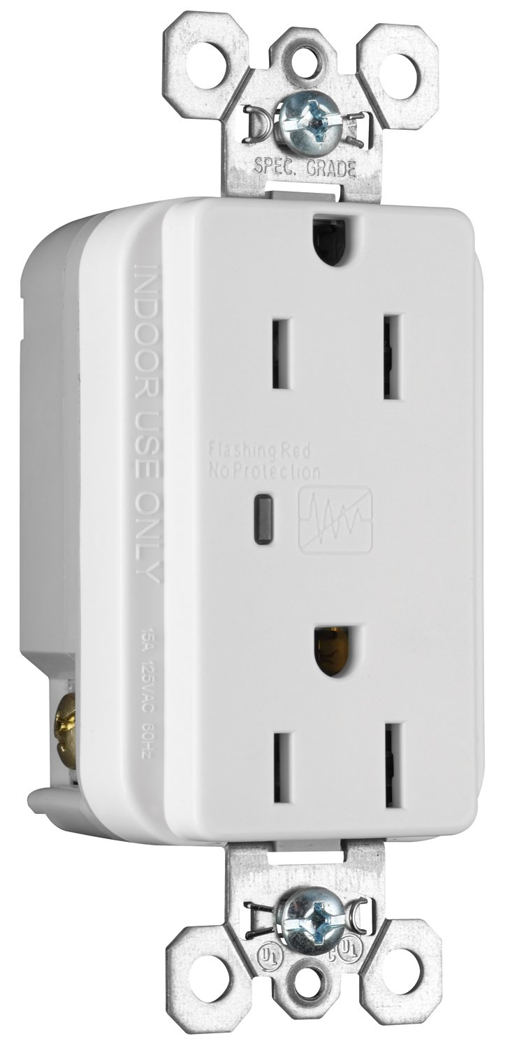 Legrand - Pass & Seymour 5252WSPCC6 Transient Voltage Surge Suppressor Commercial Grade Receptacle 15-Amp 125-volt, White