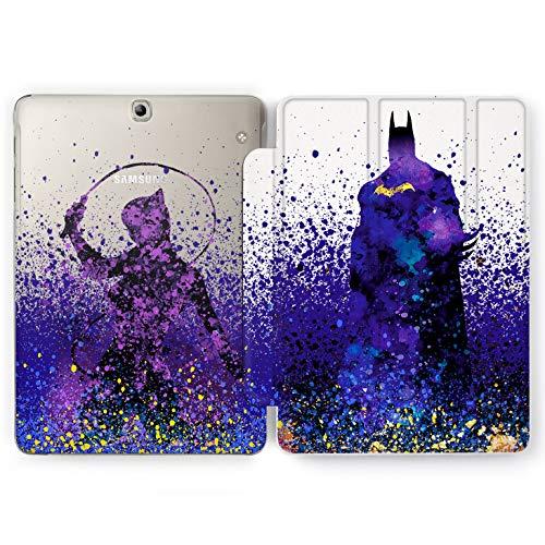 Wonder Wild Purple Knight Samsung Galaxy Tab S4 S2 S3 A E Smart Stand Case 2015 2016 2017 2018 Tablet Cover 8 9.6 9.7 10 10.1 10.5 Inch Clear Design Comic Superhero Bat Man Cat Woman Cinema Hero (Case Samsung Galaxy Batman S2)