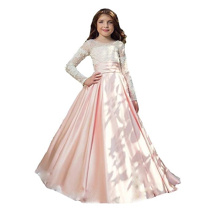 acbe5ef94f4f HotGirls Abito elegante ragazza fiore per matrimonio pizzo appliques perle  manica lunga  Amazon.it  Abbigliamento