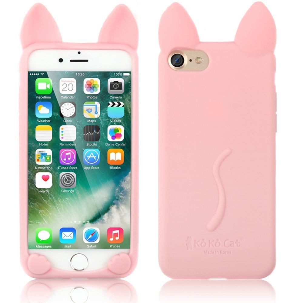 4.7'' Cover for iPhone 8 , iPhone 7 Case,Soft TPU Cover,Sammid Lovely Cute Cartoon Cat Shape Soft Silicone Case for iPhone 7/8 - Pink