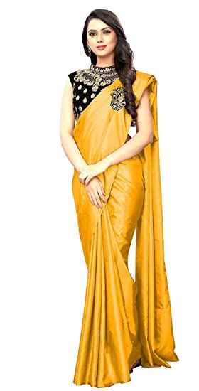 74fd44a28e0a1b Prutha Fashion women's art heavy satin type saree with velvet blouse piece  (Multi-Color_Free_Size