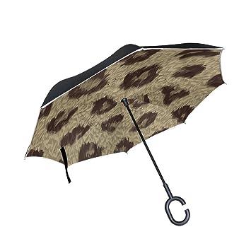 Mnsruu Paraguas invertido de doble capa con estampado de animales, textura de leopardo, paraguas plegable, ...