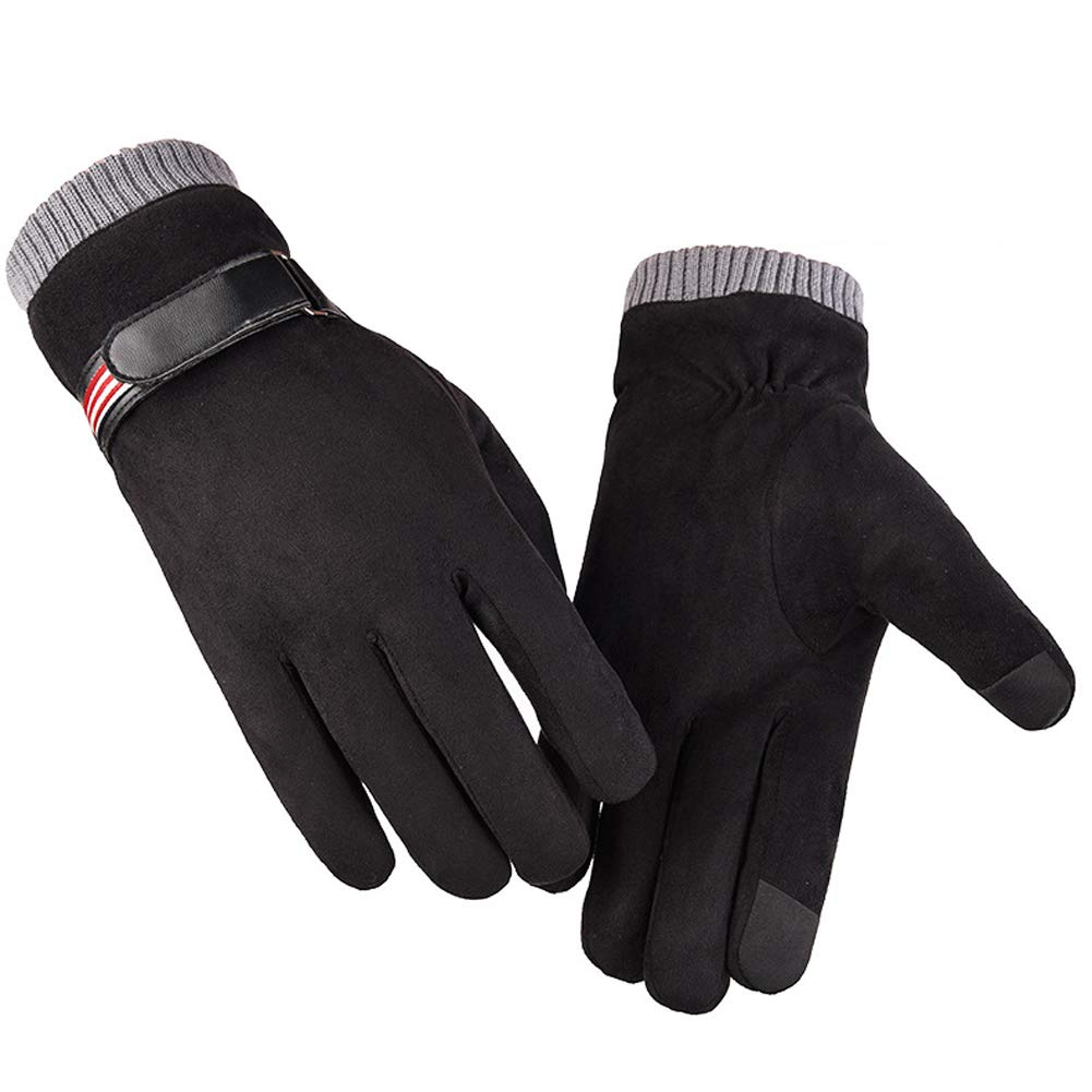 Suede Gloves Men's Warm Gloves Winter Plus Velvet Thick Touch Screen Gloves