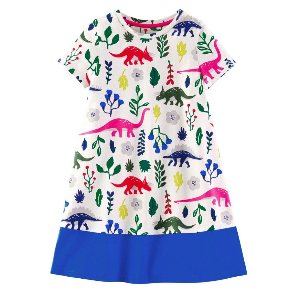 Vincent& July Toddler Girls Dinosaur Flower Short Sleeve Stitching Summer Dress