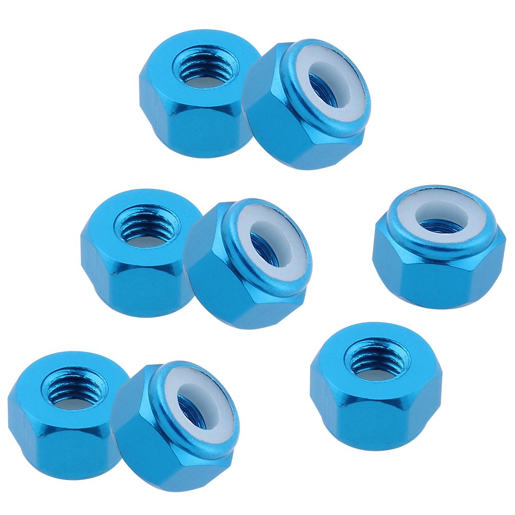 Hobbypark 8-Pack Aluminum M3 Lock Nut Nylon Self-Tightening for Redcat Racing HPI Himoto HSP Team Associated Traxxas Axial RC Car Replacement Hardware Blue