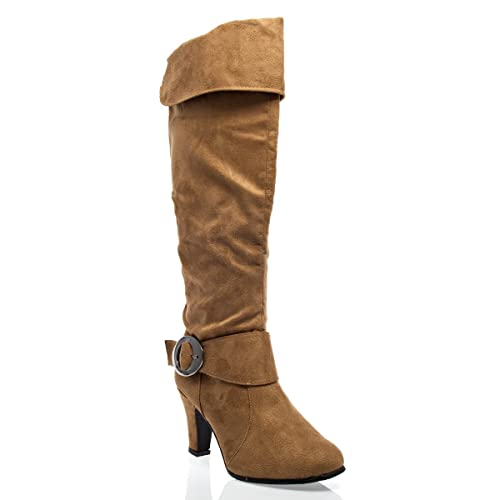 f8e7027532c8 V-Luxury Womens 40-NB200185 Closed Toe Knee High Heel Slouchy Boot