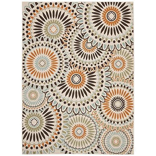 (Safavieh Veranda Collection VER091-0712 Indoor/ Outdoor Cream and Chocolate Contemporary Area Rug (6'7
