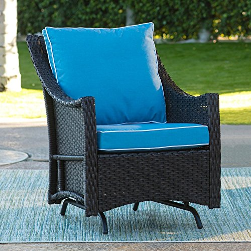 (Lindau Patio Glider Chair with Cushion Made w/ All Weather Resin Wicker,Metal and Fabric in Dark Brown 27.95W x 34.44D x 22.44H in )