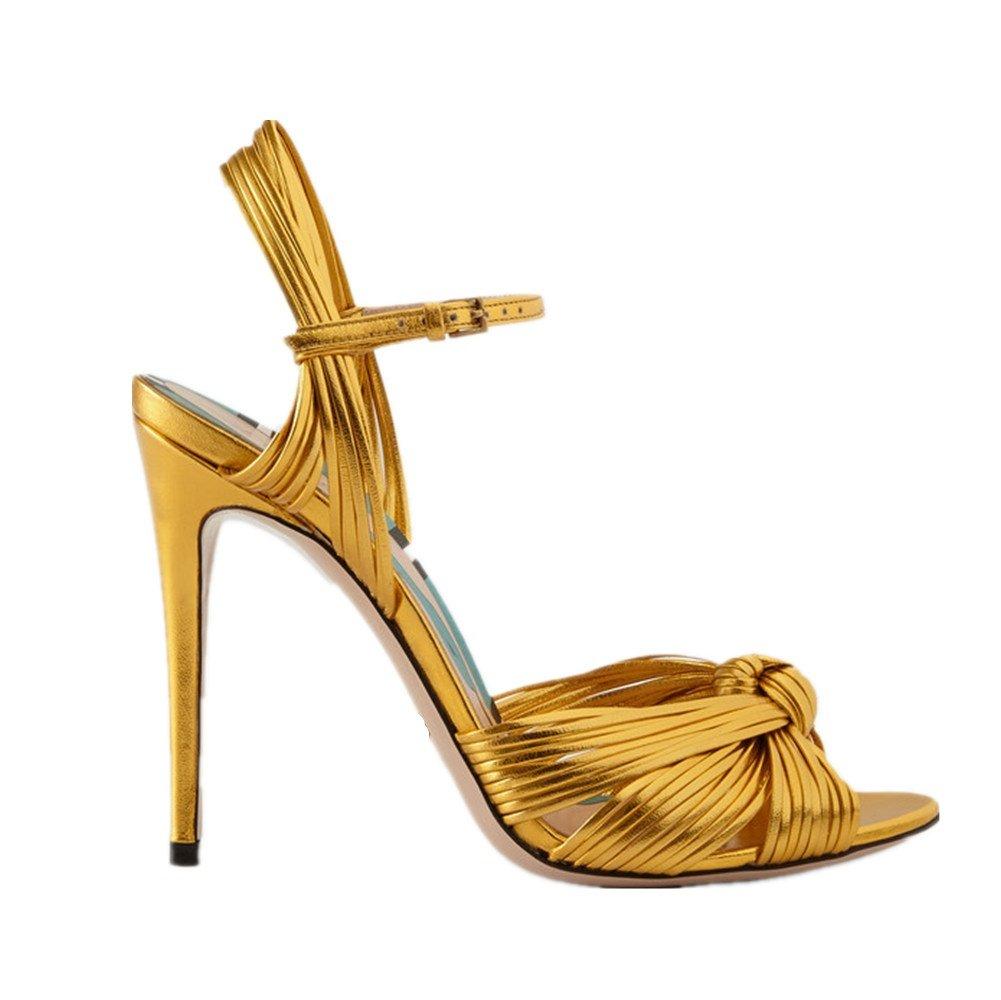 NVXIE Mujeres Stiletto Tacón Alto Correa de Tobillo Sandalias Peep Toe Strappy Plataforma Señoras Oro Negro Boda Fiesta Vespertino Zapatos Tamaño 35-42, Oro, EU 38/UK 5.5 EU 38/ UK 5.5|Oro