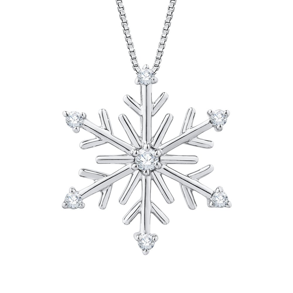 Diamond ''Snow Flake'' Pendant Necklace in Sterling Silver (1/10 cttw)