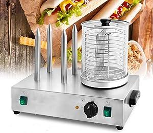 INTBUYING Hot Dog Machine Hot Dog Steame Steamer Roller Cooker Bun For Commercial Maker Warmer