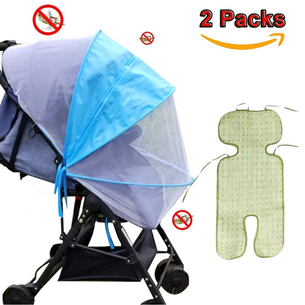 Baby Mosquito Net, Baby Bug Mosquito Net Baby Stroller Cover UV Universal Baby Carriage Mosquito Net Protection Against Ultraviolet Ray / Dust / Bug , Universal Size, Weather Protection, UV Resistant (Blue, zipper style Mosquito Net) ZhuTook