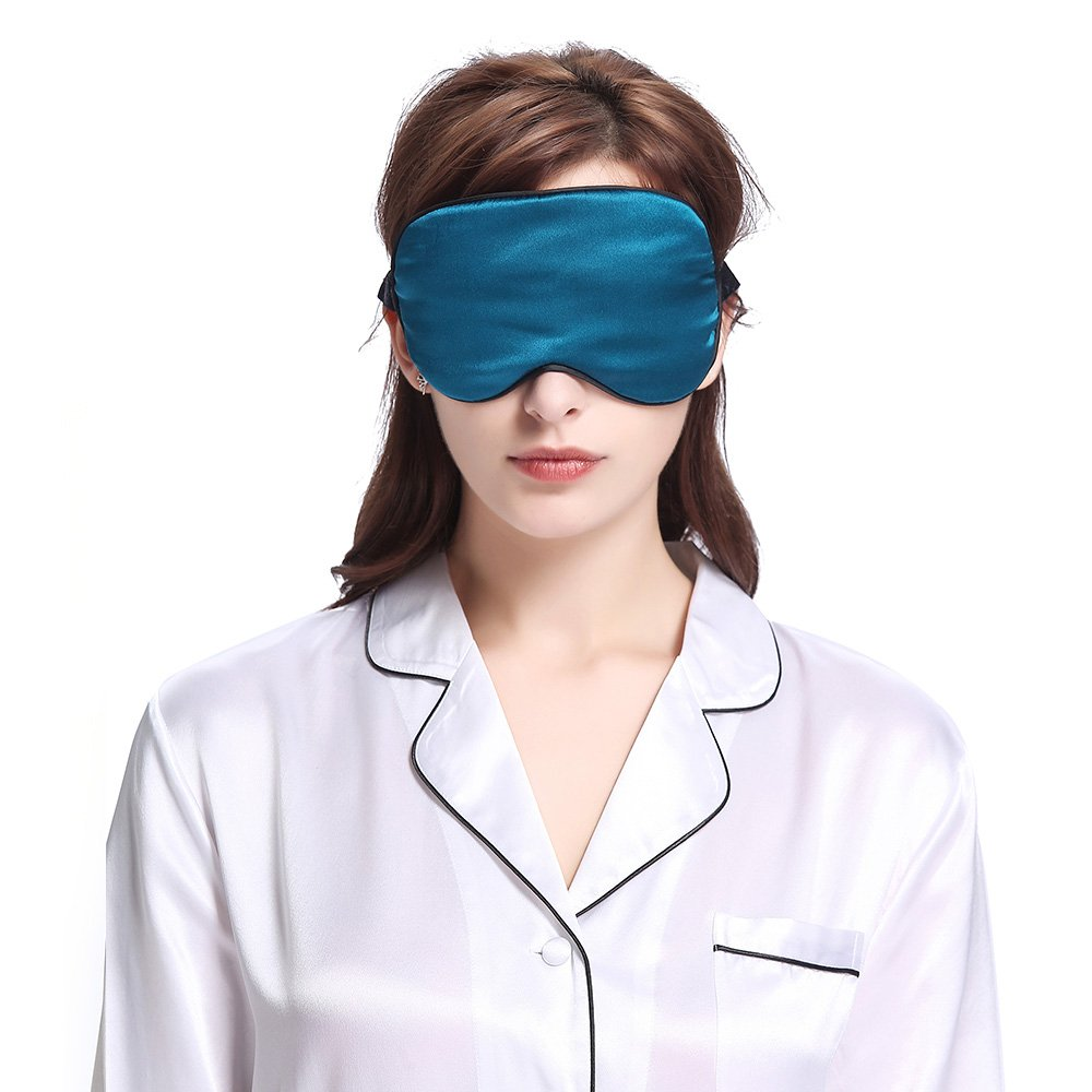 LILYSILK Mulberry Silk Sleeping Eye Mask Blindfold Natural Pure Silk with Black Trimming Travel Anti Aging Breathable Soft Smooth Dark Teal 19 Momme