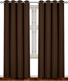 blackout room darkening curtains window panel drapes chocolate color 2 panel set - Room Darkening Curtains