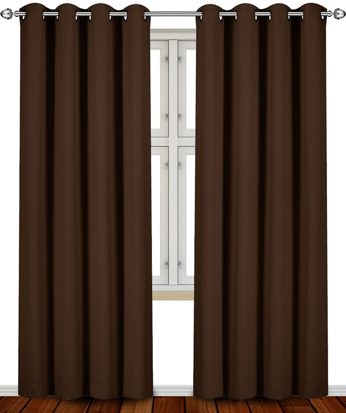 Blackout, Room Darkening Curtains Window Panel Drapes - (Chocolate Color) 2 Panel Set