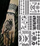 Bbei 6 Sheets Henna Body Paints Temporary Tattoos Stickers Blacklace Tattoo for Girls, Women Necklace, Bracelets Patterns (Black)