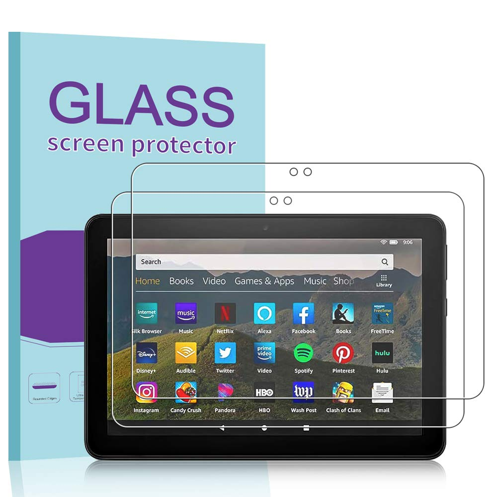 Bubble Free Tempered Glass Film PULEN Screen Protector for  Fire HD 8 2020// Fire HD 8 Plus// Fire HD 8 Kids Edition 2 Pack Anti-Fingerprint Scratch Resistance Premium Quality