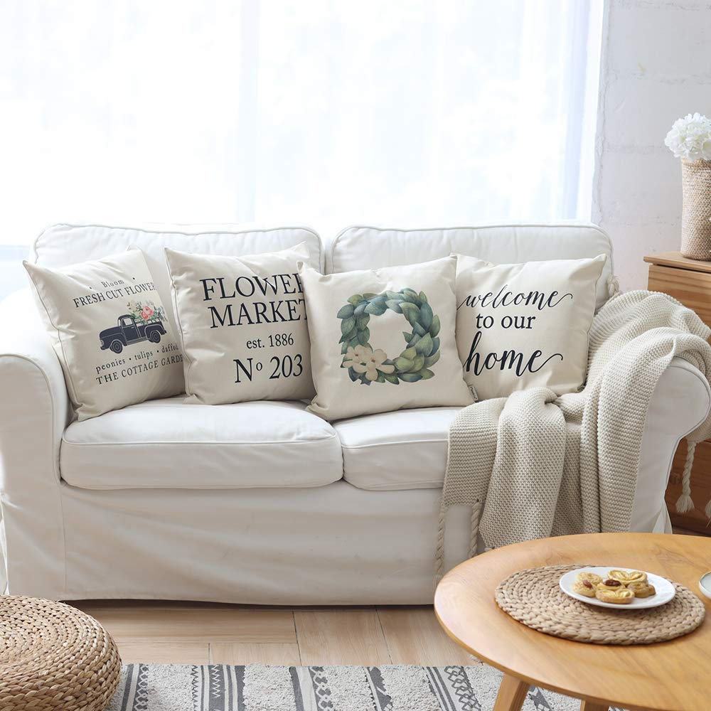 Farmhouse Pillow Covers Set of 4 with Flower Market Welcome Quote 18 x 18 Inch Farmhouse Décor Housewarming Gifts for New Home