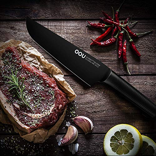 Chef Knife, OOU 7 inch Pro Kitchen Knife, High Carbon Stainless Steel Chef's Knives, Ultra Sharp Edge Cooking Knife, Advanced BO Oxidation Design, Great for Home Kitchen and Restaurant, FDA Certified by OOU! (Image #5)