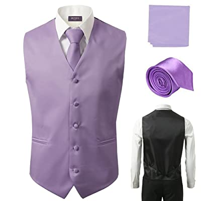 3 Pcs Vest + Tie + Hankie Lavender Fashion Men's Formal Dress Suit Waistcoat